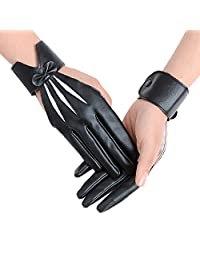 JISEN Women Five finger PU Leather With Wrist Band Pole Dancing Punk Gloves Black