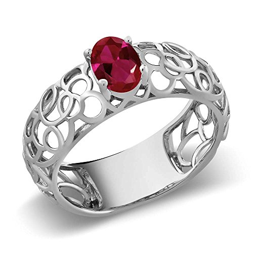 0.90 Ct Oval Red Created Ruby 925 Sterling Silver Celtic Filigree Ring (Ring Size 6)