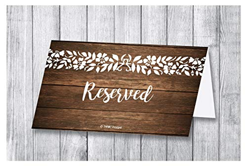 Reserved Place Cards 25 Rustic Wood Flowers Sign Table Tent for Party Tables or Chair at Restaurant Wedding Reception Church Business Office Meeting Holiday Christmas Party Printed Seating Reservation