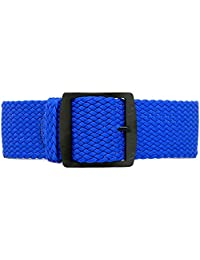 DaLuca Braided Nylon Perlon Watch Strap - Blue (PVD Buckle) : 24mm
