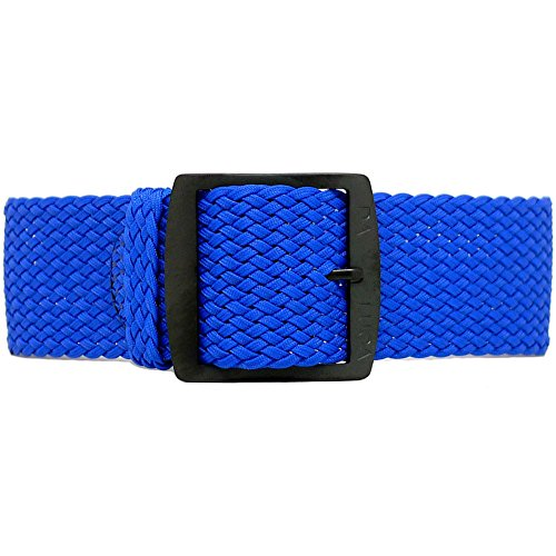 DaLuca Braided Nylon Perlon Watch Strap - Blue (PVD Buckle) : 20mm