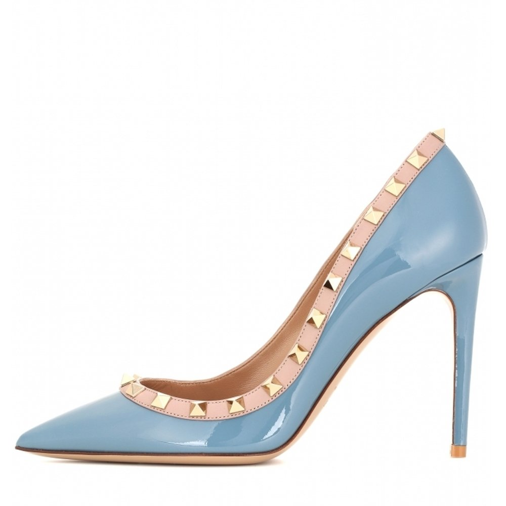 Chris-T Women's Studded Stiletto High Heels Rivets Shoes Pointed Toe Slip On Pumps 5-14 US B07CXRZ1LK 13 B(M) US|Blue