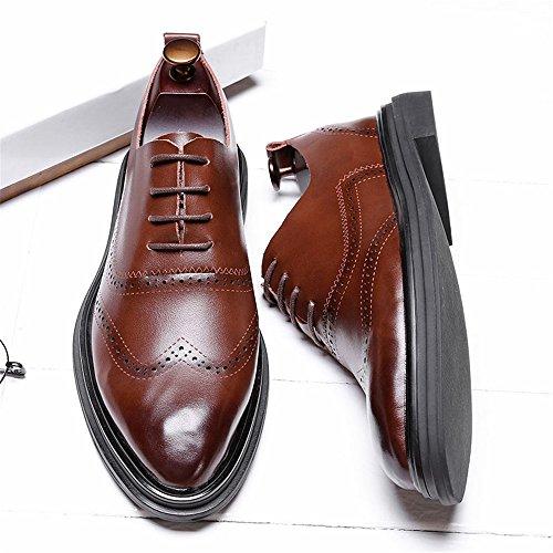 Oxford Scarpe Scarpe Marrone Tinta Uomo da Tacco con Piatto Modello Unita da Cricket Casual vrIqv