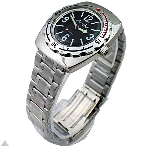 Auto Diver Watch (Vostok Amphibian 090913 / 2415b Russian Military Watch Auto Divers 200m Scuba Black)