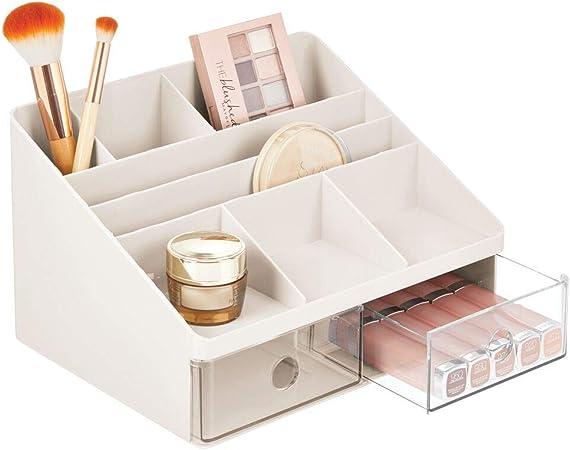 mDesign Organizador de maquillaje – Caja para cosméticos con 2 cajones y 8 compartimentos – Cajas para guardar maquillaje en plástico para el baño y otras habitaciones – crema/transparente: Amazon.es: Hogar
