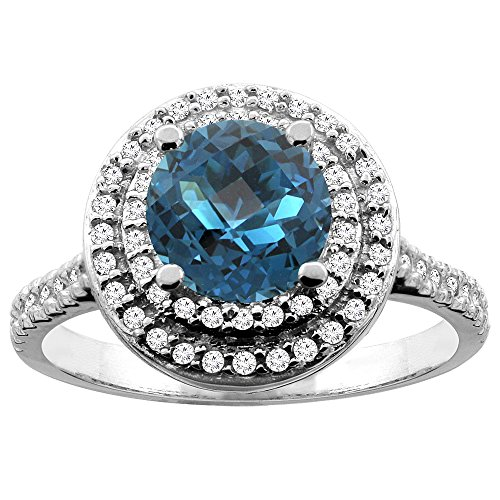 7 Mm Round Diamond (10K White Gold Natural London Blue Topaz Double Halo Ring Round 7mm Diamond Accent, size 5)