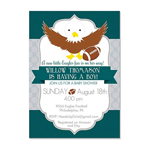 (Set of 12 Personalized Baby Shower Invitations and Envelopes with Philadelphia PA Eagles Football NV9056)