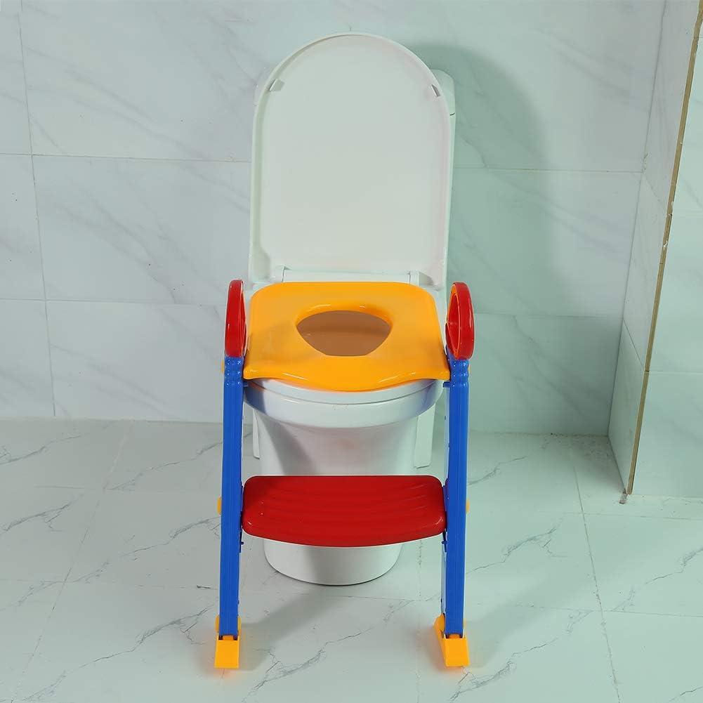 Verstellbarer T/öpfchentrainer T/öpfchen f/ür Kinder Tragbarer T/öpfchen-WC-Sitz T/öpfchentrainer T/öpfchen f/ür Kinder Toilettensitz mit doppelter Armlehne und Rutschfester Leiter lyrlody