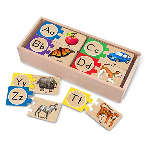 Melissa & Doug Self-Correcting Alphabet Letter Puzzles (Developmental Toys, Wooden Storage Box, Detailed Pictures, 52 Pieces, Great Gift for Girls and Boys - Best for 4, 5, and 6 Year Olds)