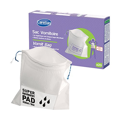 Carebag Vomit Bag With Super Absorbent Pad  20 Count