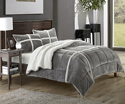 "Chic Home 2 Piece Chloe Sherpa Comforter Set, Twin X-Long, Silver - 2-Piece Luxurious Bedding Set: 1 Comforter, 1 Pillow sham 1 Sherpa comforter 66""x90"", 1 Pillow sham 20""x26""+2"" flange Color options: Beige, Black, Brown, Silver, Navy,Red, Taupe - comforter-sets, bedroom-sheets-comforters, bedroom - 51firRybMoL -"