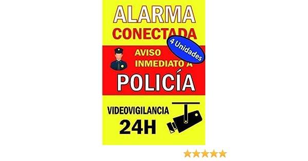Pack (Lote) de 4 unidades | Adhesivo Cartel ALARMA CONECTADA, zona videovigilada Disuasorio Aviso