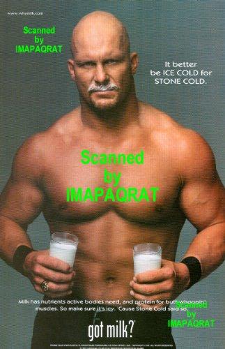 Got Milk? WWF Stone Cold Steve Austin, Bare Chested: Great Original Photo Print Ad