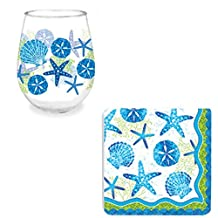 Celebrate The Beach Gift Bundle: 16 ounce Beach-Themed Stemless Wine Glass with Matching Napkins in a Gift Box + Bonus Grandma Olive Homemade Sangria Recipe