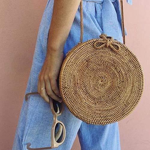Zozu Bali Island Hand Woven Bag Round buckle Rattan Straw Bags Satchel Wind Bohemia Beach Circle Bag
