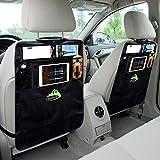 Kick Mat Car Seat Protector Backseat Organizer Pocket Storage by UBAOXIN (Pack of 2) (Black)