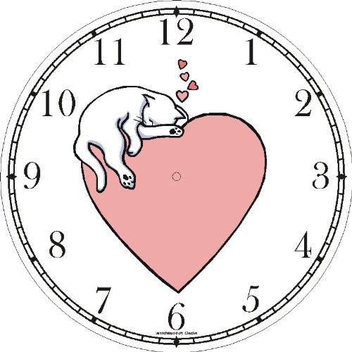 Amazon.com: Cat Sleeping - Pink Heart - Cat Wall Clock by WatchBuddy Timepieces (Black Frame): Home & Kitchen