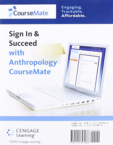 Anthropology CourseMate with eBook, InfoTrac 1-Semester Printed Access Card for Jurmain/Kilgore/Trevathan/Ciochon's Intr