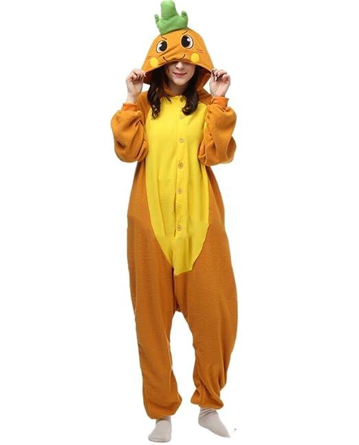 Fandecie Pijama Zanahoria, Onesie Modelo Animales para adulto entre 1,60 y 1,