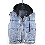 Women's Jean Vest Distressed Classic Cropped Sleeveless Denim Jacket