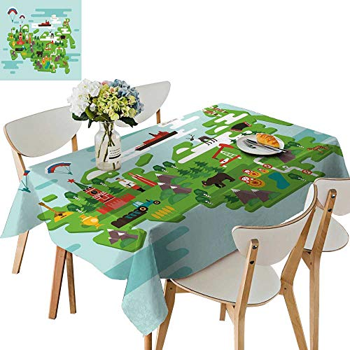 UHOO2018 Solid Tablecloth Travel Concept Russia National Symbols National Costumes Famous Attraction The Country Square/Rectangle Spillproof Fabric Tablecloth,50 x103inch