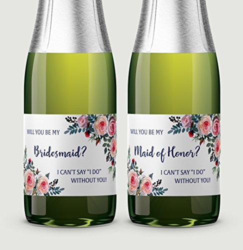 """● SET of 12 ● 10 Will You Be My Bridesmaid Mini Champagne Labels + 1 Maid of Honor + 1 Matron of Honor Label, Bridesmaid ASK, Bridesmaid Proposal, Bridal Party ASK, 3.5"""" x 2"""" WEATHERPROOF, M335-ASK-12"""