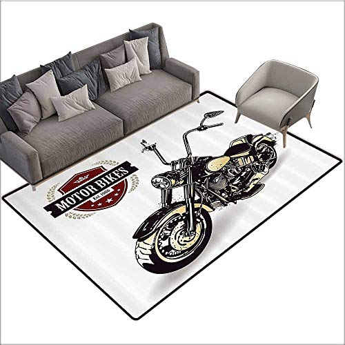Kitchen Mat Motorcycle Decor,Chopper Customized Motorcycle with Club Insignia Motor Bikes Hippie Style Classic,Black Beige 48