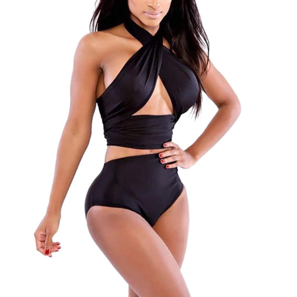 Creazrise Women's Deep V Neck Crisscross High Waist Bandage 2 Pieces Swimsuit Plus Size Black
