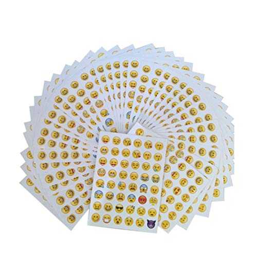 KISEER Cute Emoji Stickers, 1200 Pcs Popular Emoji Face Scrapbooking Stickers for Books, Notes, Photo Album or Laptop, 25 ()