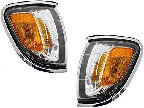 Housing 3 Light Trim - Toyota Tacoma 01 02 03 04 Corner Light Chrome Trim With Bulb Pair Set