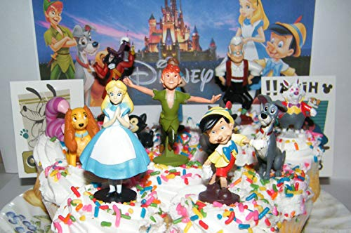 Disney Classic Movies Deluxe Cake Toppers Cupcake Decorations Set of 14 with 12 Figures and 2 Tattoos Featuring Peter Pan, Pinocchio, Alice in Wonderland and More!