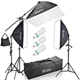 PHOTO MASTER Photography Softbox 2000W Continuous Photo Lighting 20x28 Kit [Includes Boom, Stands, Softboxes, Socket Heads, Bulbs,Carrying Bag]
