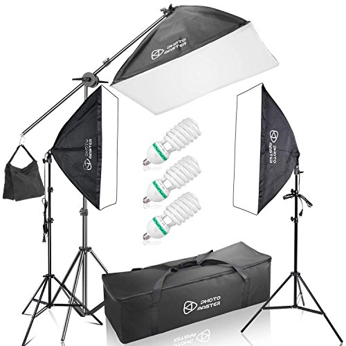 (PHOTO MASTER Photography Softbox 2000W Continuous Photo Lighting 20x28 Kit [Includes Boom, Stands, Softboxes, Socket Heads, Bulbs,Carrying)