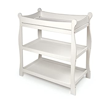 Captivating Badger Basket White Sleigh Style Baby Changing Table