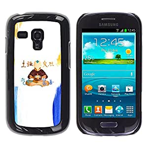 KLONGSHOP // Cubierta de piel con cierre a presión Shell trasero duro de goma Protección Caso - Airbender - Samsung Galaxy S3 MINI 8190 //