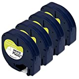 JARBO 91331 Compatible for DYMO Letratag 91331 Label Tape Black print on White, 4 Packs, 1/2 Inch x 13 Feet (12mm x 4m), Used for DYMO LetraTag LT-100H Plus LT-100T QX-50 Label Maker
