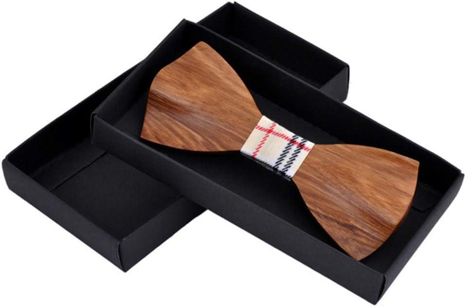 Fashion Mens Tie Handmade Groom Groomsman Wood Bow Tie with Gift Box Necktie Color : Beige