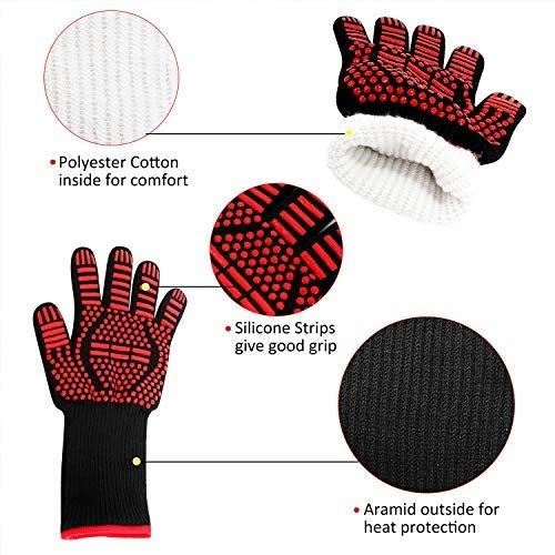 AINIYF Professional Heat Resistant Gloves, Fire Proof Mittens with Forearm Protection,Gloves 1472°F Degree Heat Resistance for Grilling/Welding/Kitchen Cooking/Oven/BBQ, 1 Pair by AINIYF (Image #2)