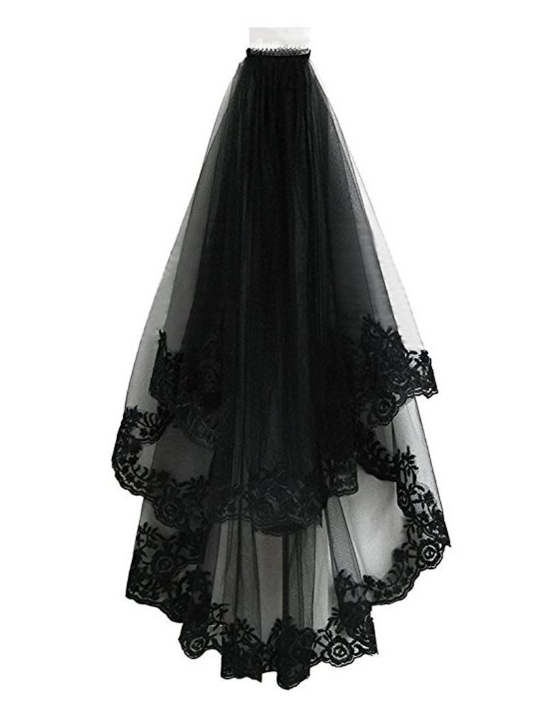 TOPJIN Classic Lolita Style Black Cathedral Halloween Party Wedding Bridal Veil