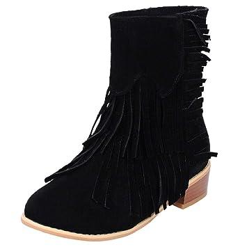 QUICKLYLY Botas De Nieve Mujer,Botines para Adulto,Zapatillas/Zapatos De Invierno Calzado De Borla De Tacón Cuadrado con Punta Redonda De Color Liso: ...