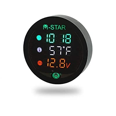 VYNOPA Waterproof Night Vision Motorcycle Meter LED Digital Display Voltmeter Voltage Volt Temperature Gauge Time LED 3 in 1: Automotive