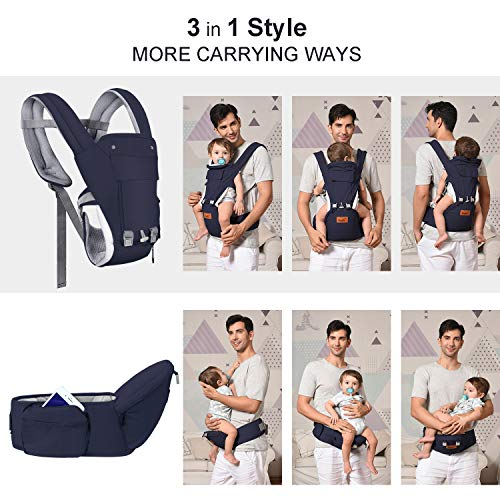 Bable Baby Carrier with Hip Seat, 360 Ergonomic Baby Carrier, Toddler Tush Stool for All Seasons, Soft Baby Sling No Infant Insert Needed - Adapt to Newborn, Infant Hiking Backpack Carrier by BABLE (Image #4)