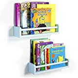 Set of 2 Children's Wall Shelf Wood 17.5 Inch Multi-use Bookcase Toy Game Storage Display Organizer Ships Fully Assembled (Light Blue)
