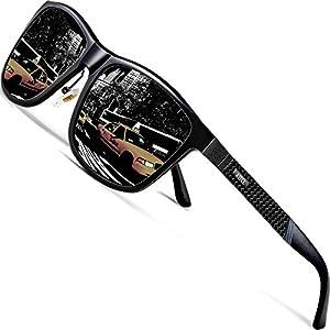 ATTCL Men's Driving Polarized Wayfarer Sunglasses Al-Mg Metal Frame Ultra Light 858-8 Black