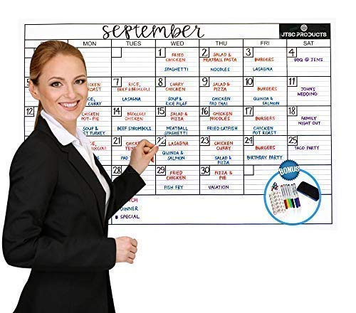 Dry Erase Wall Calendar Laminated - JTSC Products Jumbo 24x36 inch Monthly Planner for Home, School and Office - Reusable Laminated Nano Premium PET Film - Bonus 6 Markers, Dry Eraser, Accessories