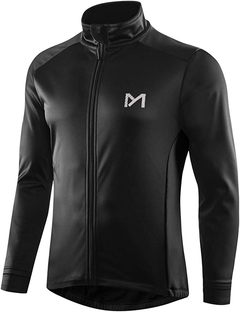 Men's Winter Thermal Cycling Jackets, Windproof Breathable Fleece Bike Jerseys, Bicycle Softshell Shirt Long Sleeves Coat