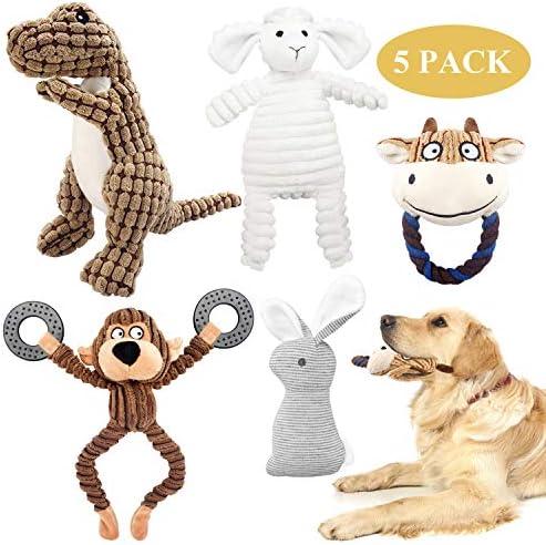 KONKY Squeaky Dog Toys Set, 5 Packs Durable Dog Plush Toy Chew Toys Dog Companion, Various Animals Shapes Training Toy for Puppy Small Medium Large Dogs (Dinosaur, Monkey, Sheep, Rabbit and Bull)