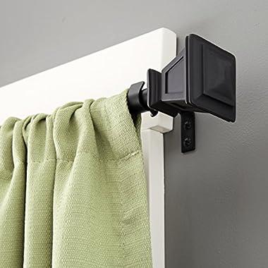 Kenney Seville Matte Window Curtain Rod, 48 to 86-Inch, Black