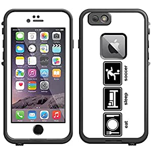 Skin Decal for LifeProof Apple iPhone 6 Case - Eat Sleep Soccer on White