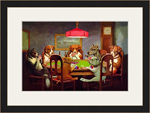 Passing the Ace Under the Table (Dog Poker) 12x18 Archival Ink-JetPprint, Matted and Framed by ArtToFrames